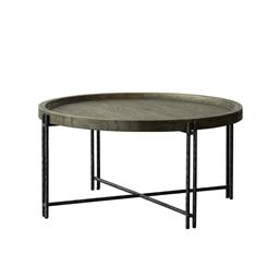 Sale 9140F - Lot 227 - Modern Industrial in Design, a Round Coffee Table constructed from Solid Reclaimed  Elm. The Top in a Natural Finish with raised Cur...