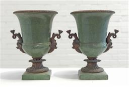 Sale 9142 - Lot 1089 - Pair of Classical Style Ceramic Urns, of campagna form with green crackle glaze & applied dolphin handles (h40 x d28cm)