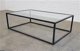 Sale 9157 - Lot 1025A - Modern metal based coffee table with glass top - Michael Love commission (h:45 x w:150 x d:90cm)