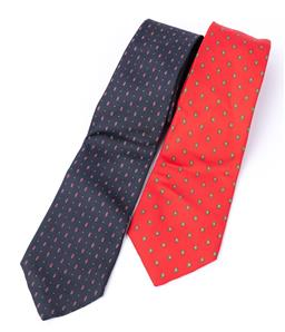 Sale 9250F - Lot 79 - A pair of mens Lanvin silk ties, in reds and blues.