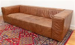 Sale 9239H - Lot 30 - A square form large brown leather four seater couch, H 67cm x W 254cm x 101cm.