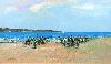 Sale 3847 - Lot 47 - DONALD FRASER (WORKING 1980 - 90S) - Untitled Beach Scene 29 x 49 cm