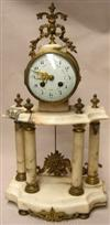 Sale 7729 - Lot 18 - Late C19th Marble & Gilt Column Clock (Key & Pendulum in Office)