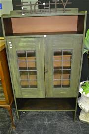 Sale 7987A - Lot 1005 - Green-Painted Oak Bookcase, With Leadlight Panels