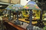 Sale 8380 - Lot 1072 - Set of Three Glass Shade Table lamps