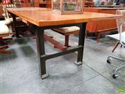 Sale 8607 - Lot 1050 - Industrial Based Dining Table with Kauri Pine Top - (H: 76 L: 277 W: 90cm)