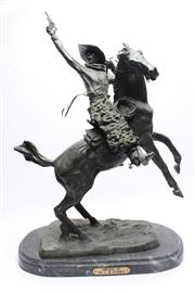 Sale 8710 - Lot 29 - Bronze On Marble Smokin Up By CM Russell