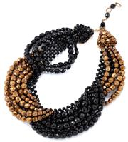 Sale 9074 - Lot 363 - A VINTAGE ITALIAN COPPOLA E TOPPO FRENCH JET AND GOLD GLASS BEAD NECKLACE; cascading swags of faceted black and gold tone glass bead...