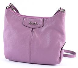 Sale 9132 - Lot 350 - A COACH SMALL CROSSBODY SATCHEL, lilac leather, zip top closure, silver tone hardware, grey satin lining with two internal side wall...