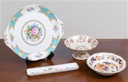 Sale 9140H - Lot 39 - A small collection of ceramics including a Royal Albert cake plate, Width 26.5cm, together with others including a footed example.