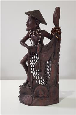 Sale 9188 - Lot 1306 - Carved timber tribesman (h53cm)