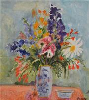 Sale 8000 - Lot 228 - Patrick Hockey (1948 - 1992) - Still Life in Chinese Vase oil on canvas on board
