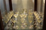 Sale 8057 - Lot 7 - Bohemian Yellow Etched Uranium Glass Drink Suite
