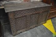 Sale 8291 - Lot 1067 - 17th Century Oak Coffer, with moulded frame & later carved panels