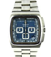 Sale 8402W - Lot 93 - ZENITH EL PRIMERO AUTOMATIC CHRONOGRAPH WRISTWATCH; cushion shape with blue dial, white markers, tachymeter track, triple registers,...