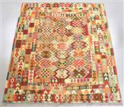 Sale 8438K - Lot 45 - Summer Afghan Tribal Kilim Rug | 290x250cm, Pure Wool, Finely handwoven in Northern Afghanistan using high quality local wool. Vibra...