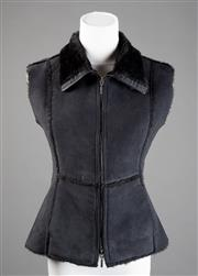 Sale 8499A - Lot 25 - A Max & Co (Max Mara group) black vest with black fake fur lining, zip front, Made in Italy. Size: 38.