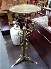 Sale 8697 - Lot 1574 - Brass Jardiniere Stand, with round top, above scrolled supports & turned shaft