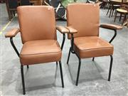Sale 8971 - Lot 1043 - Pair of Vintage Metal Framed Reception Chairs (H:89 x W:61 x D:40cm)