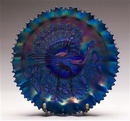 Sale 9128 - Lot 42 - Carnival glass bowl featuring peacocks (Dia:22cm) (chip to rim)