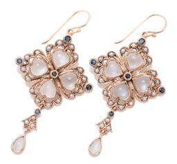 Sale 9209J - Lot 386 - A PAIR NOUVEAU STYLE 9CT ROSE GOLD GEM SET EARRINGS; quad form set with heart shape moonstones surrounded by seed pearls and blue sa...