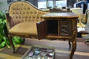 Sale 8099 - Lot 833 - Carved Chaise w Cabinet End