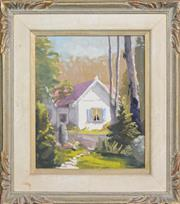 Sale 8203A - Lot 66 - Dorothy Clemens (XX) - Pom Pom Cottage 30 x 25cm