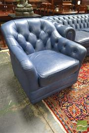 Sale 8282 - Lot 1018 - Pair of Moran Blue Buttoned Leather Chesterfield Armchairs (arms slightly stained)