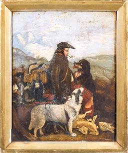 Sale 9150J - Lot 78 - ARTIST UNKNOWN (C19TH SCHOOL) Scottish Laird After the Hunt oil on panel 34 x 28cm