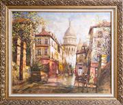 Sale 8593A - Lot 141 - Two works on canvas; Codos, Paris, Parisian Street Scene, 58 x 70cm, signed lower right, and Artist Unknown, 49 x 60cm