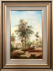Sale 8682 - Lot 2063 - Norman Robins - Peaceful Afternoon oil on board, 49.5 x 29.5cm, signed lower right