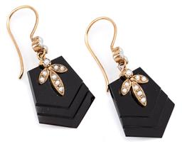 Sale 9132 - Lot 379 - A PAIR OF ONYX & PEARL DROP EARRINGS; pentagonal carved onyx drops applied with seed pearls to 9ct gold seed pearl set shepherds hoo...