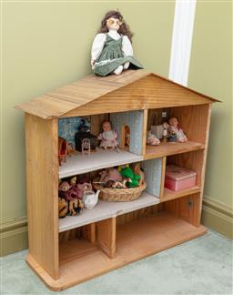 Sale 9190H - Lot 334 - A Doll's house including contents and a box of sundry toys. Height 81cm