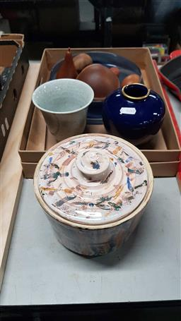 Sale 9176 - Lot 2326 - Collection of Sundries incl Studio Pottery Lidded Biscuit Jar, Glass Bowl, Peacock Vase etc