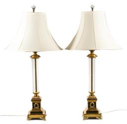 Sale 9211 - Lot 73 - Pair of Brass and Glass Form Table Lamps (H:86cm)