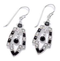 Sale 9209J - Lot 398 - A PAIR OF 9CT WHITE GOLD DECO STYLE GEM SET EARRINGS; frames set with mixed shaped onyx and seed pearls each suspending a round cut...