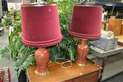 Sale 8115 - Lot 1008 - Pair of Red Ceramic Table Lamps