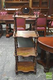 Sale 8267 - Lot 1019 - Victorian Walnut & Marquetry Whatnot, of four graduated tiers, with mirror back and spiral supports