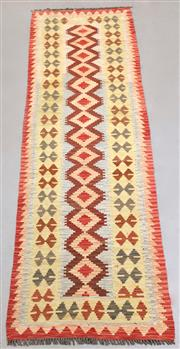 Sale 8438K - Lot 47 - Summer Afghan Tribal Kilim Runner | 294x79cm, Pure Wool, Finely handwoven in Northern Afghanistan using high quality local wool. Vib...