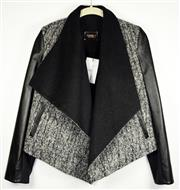 Sale 8460F - Lot 98 - A Nohke J monochrome leather and wool waterfall front jacket, unworn with tag, size 36