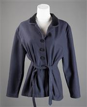 Sale 8499A - Lot 27 - A Claudie Pierlot (Paris) wool blend tie-waisted dark navy blue jacket, with black velvet collar & covered buttons. Some slight pill...