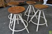Sale 8532 - Lot 1432 - Set of Four Timber Top Swivel Stools on White Metal Round Base