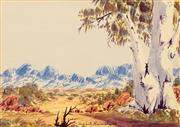 Sale 8647 - Lot 583 - Albert Namatjira, Junior (1955 - ) - Central Australian Landscape 16.5 x 23cm
