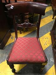 Sale 8666 - Lot 1092 - Set of Six Early Victorian Mahogany Bar Back Chairs, with red upholstered drop-in seats & turned reeded legs