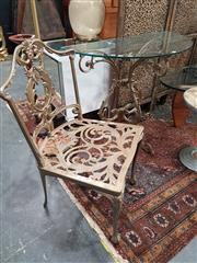 Sale 8744 - Lot 1029 - Scrolled Metal Console Table with Glass Top and Matching Chair