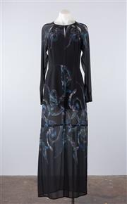Sale 8760F - Lot 114 - A Bettina Liano floor-length printed dress with slip, size 10