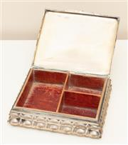 Sale 8855H - Lot 21 - A Hungarian silver jewellery box with timber lining, 18.5 x 15.5 x 5cm