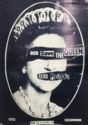 Sale 8866H - Lot 3 - A Framed Sex Pistols God Save the Queen poster.