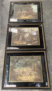 Sale 9082 - Lot 2053 - A Good set of three early 19th century hand coloured engravings depicting Pheasant hunting scenes, frame: 65 x 77 cm each,