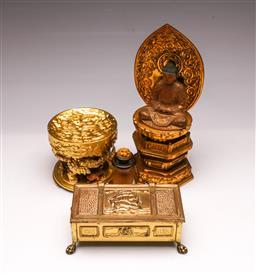 Sale 9110 - Lot 78 - A group of Asian items inc timber Buddha, cricket cage, and a European brass box (buddha H:31cm)